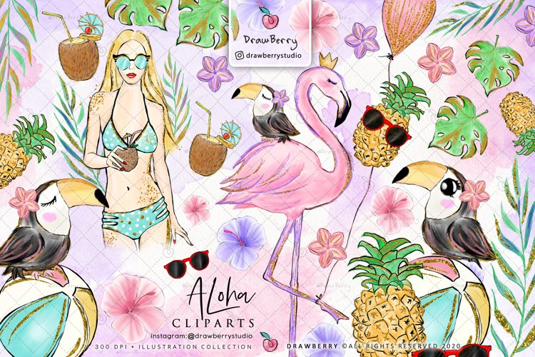 Watercolor Sea Animals Clipart example image 1