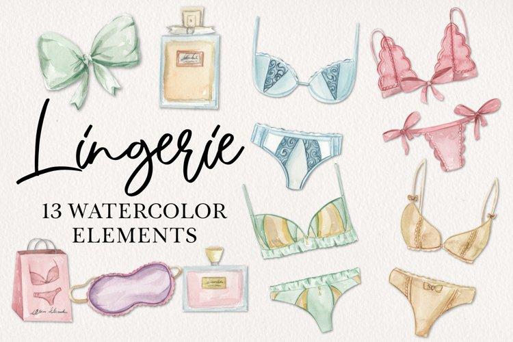 Lingerie Watercolor 13 Elements Perfume Panties Bras Lace example image 1