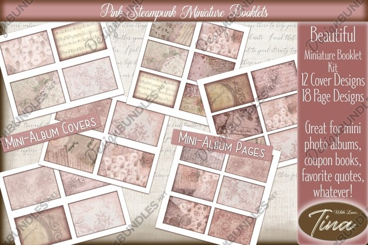 Pink Steampunk Miniature Booklets Mini Albums Coupon Books