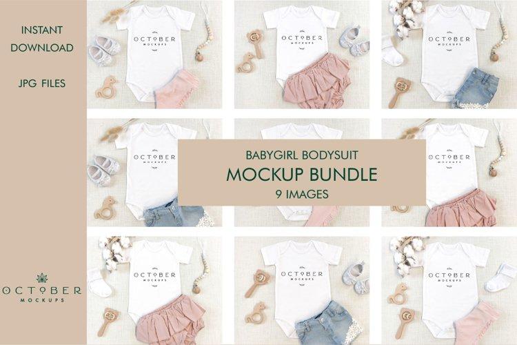 Mockup bundle JPG | Baby Girl Bodysuit White | Sublimate bla
