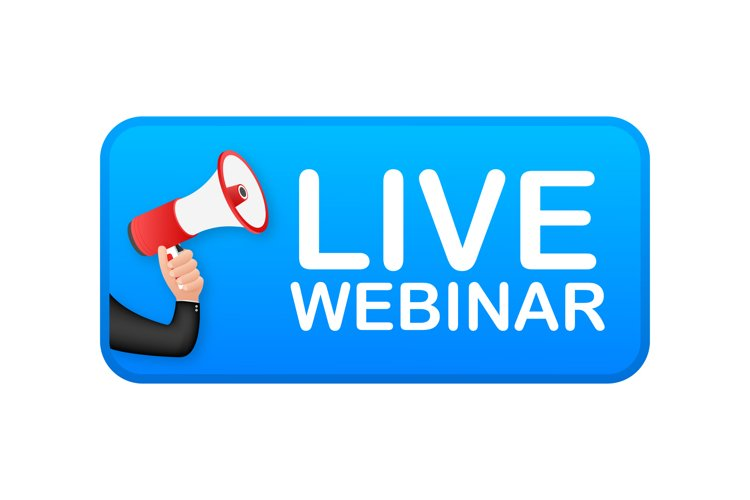 Live Webinar Button, icon, emblem, label. example image 1