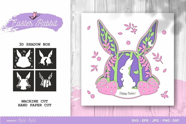 Easter Bunny 3D Shadow Box - SVG Papercut Cutting File