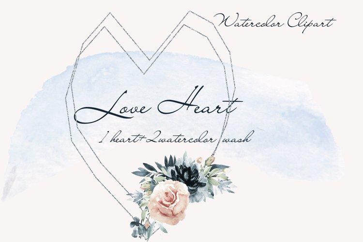 Bride watercolor heart clipart