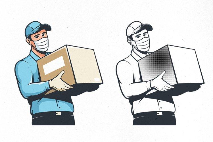 Delivery Man In Medical Mask