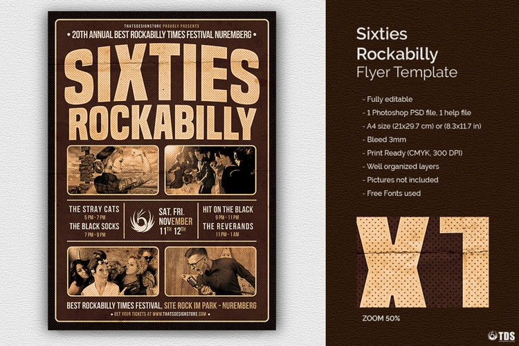 Sixties Rockabilly Flyer Template example image 1