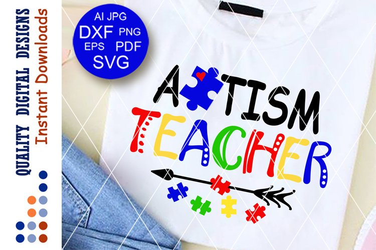 Autism teacher svg files sayings Back to school decor example image 1
