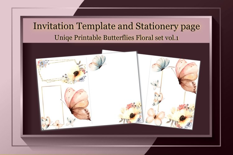 Invitation Printable,Floral Stationary Paper,Butterflies