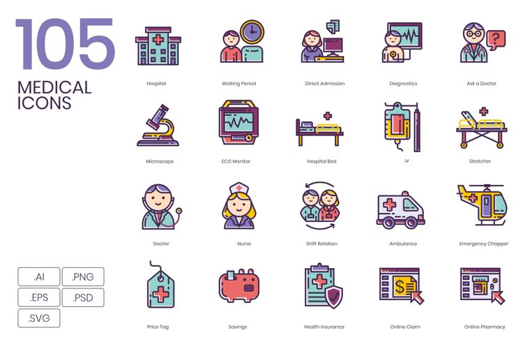 105 Medical Icons Lilac Series