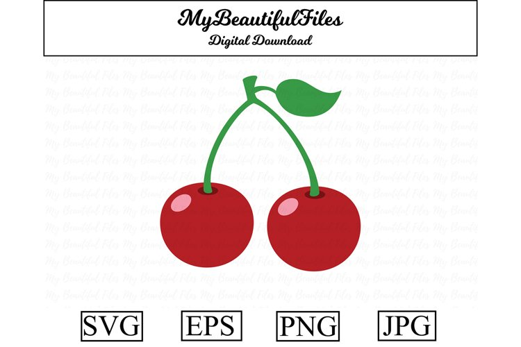 cherry SVG - Cute fruit SVG, EPS, PNG and JPG example image 1