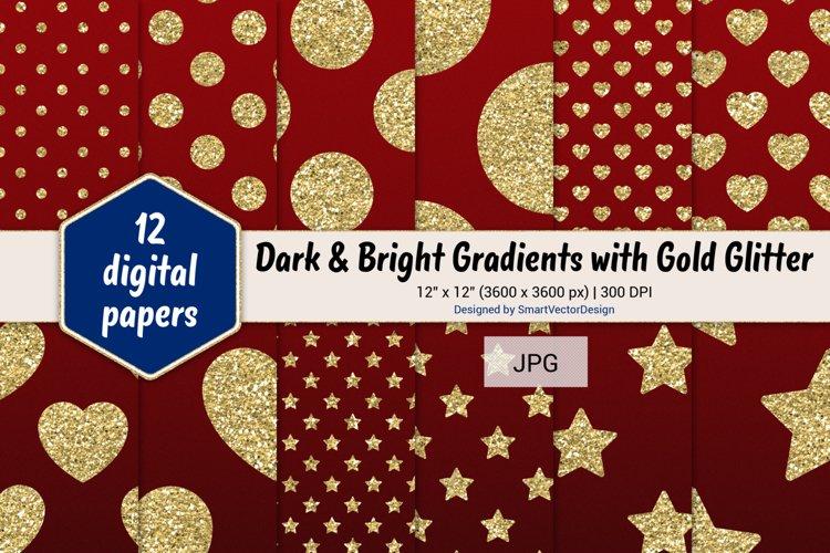 Polka Dot, Hearts, & Stars - Gradients with Gold Glitter #2 example image 1