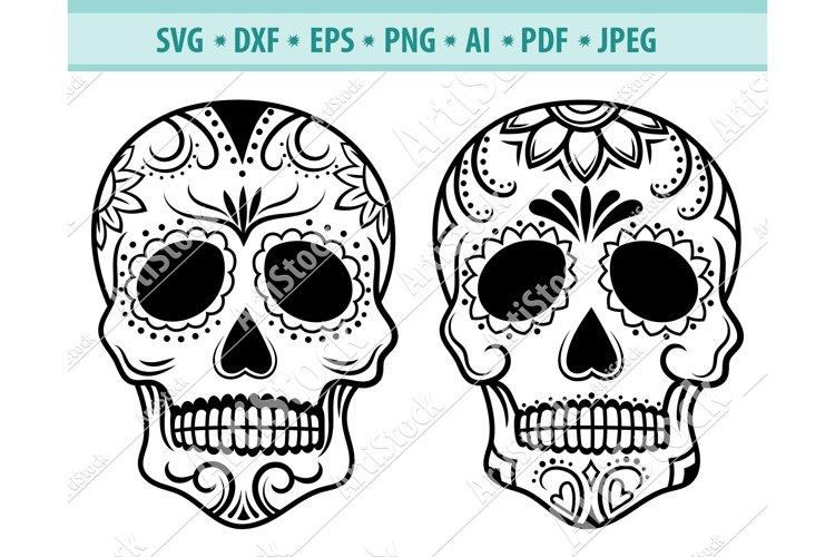 Sugar Skull Svg, Skull Head Svg, Skull clipart Eps, Dxf, Png