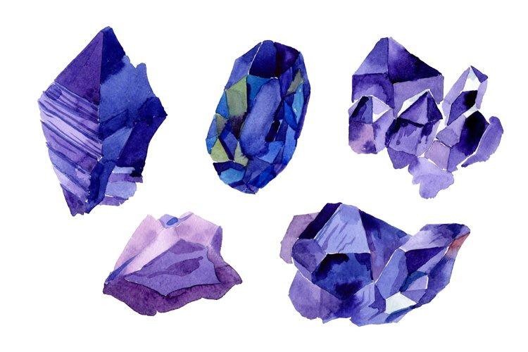 Aquarelle geometric blue crystal PNG set example image 1