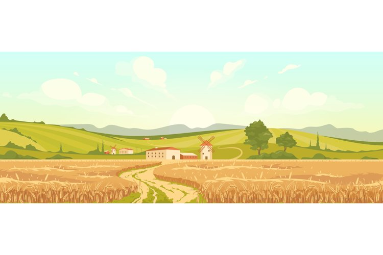 Agricultural field flat color vector illustration example image 1