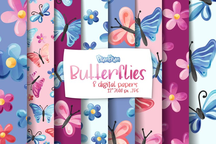 Butterflies Digital Papers example image 1