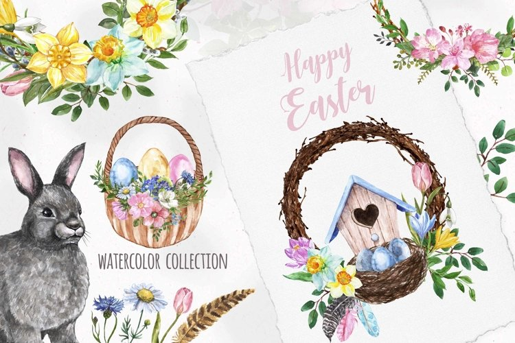 Happy Easter Clipart Watercolor Bunny Rabbit Spring Eggs example image 1