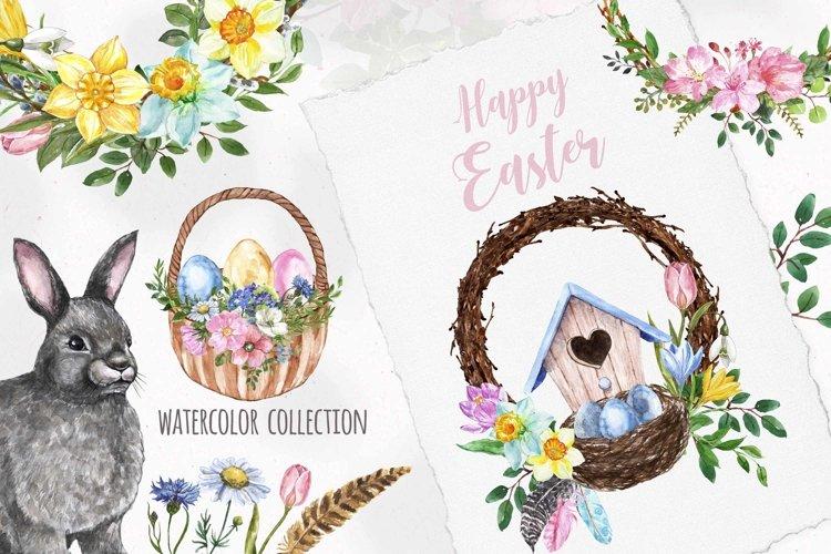 Happy Easter Clipart Watercolor Bunny Rabbit Spring Eggs