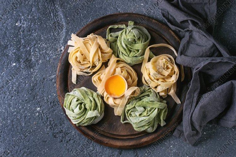 Colored fresh homemade pasta tagliatelle example image 1