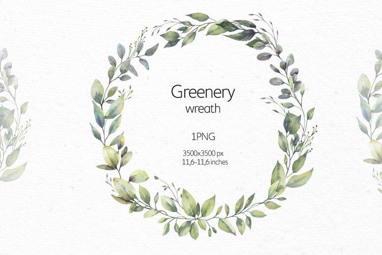 Watercolor Greenery Wreath.