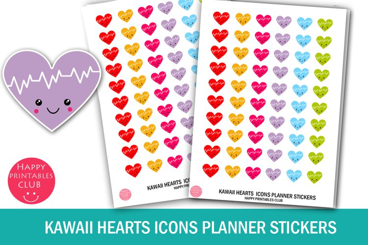 Kawaii Hearts Icons Planner Stickers- Hearts Planner Sticker example image 1
