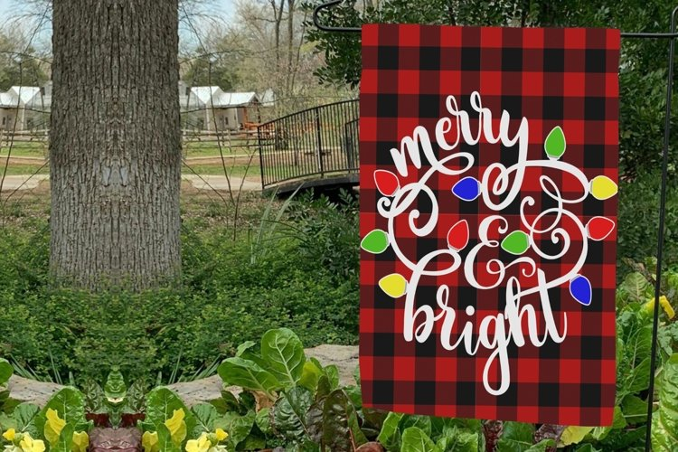 Merry and Bright Sublimation Garden Flag PNG JPG PDF
