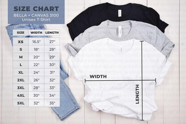 Bella Canvas 3001 Size Chart, Mockup Size Chart example image 1