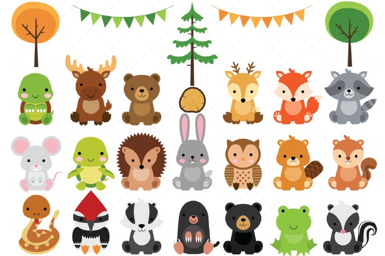 Woodland Baby Animals Clipart | Forest Animal Clipart example image 1