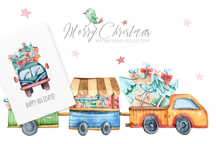Watercolor Christmas clipart. Christmas cars and trucks example image 1