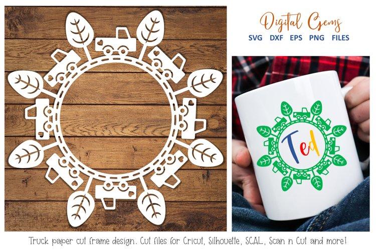 Truck monogram paper cut design. SVG / DXF / EPS / PNG example image 1