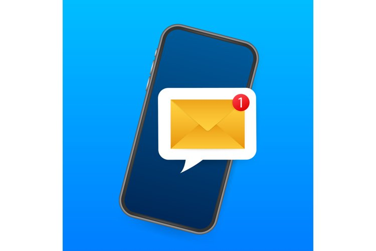 Email notification concept. New email on the smart phone example image 1
