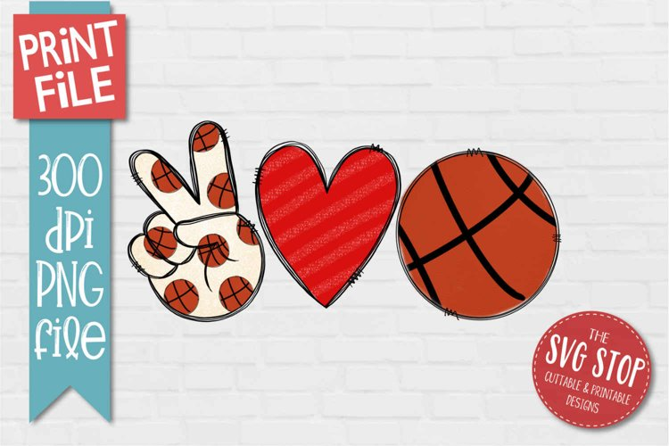 Peace Love Basketball Sublimation Design PNG example