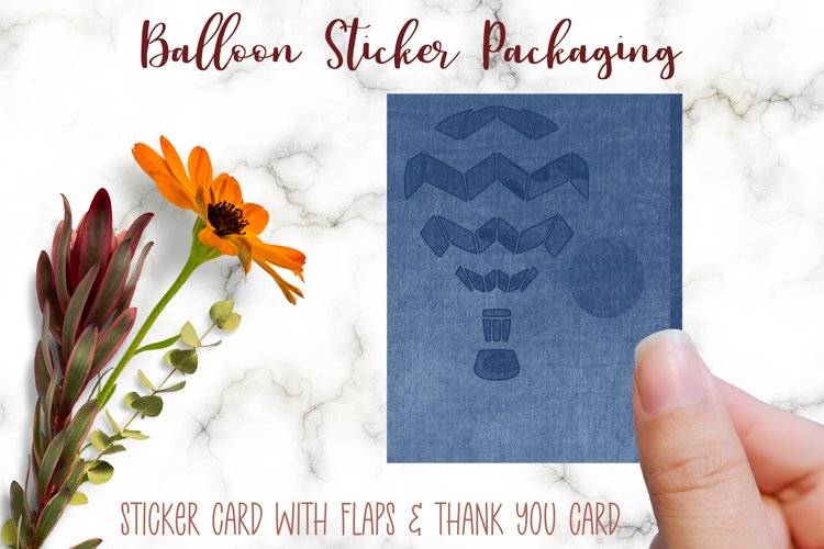 Hot Air Balloon Sticker Packaging and Thank You Note Card