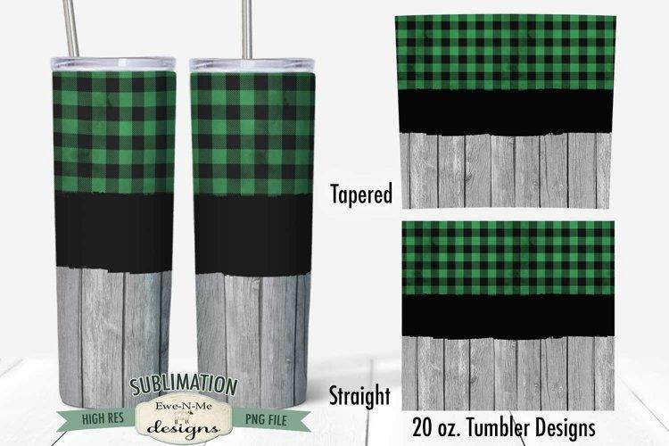 Tumbler Sublimation 20 oz Wrap   Green Check Barn Wood PNG
