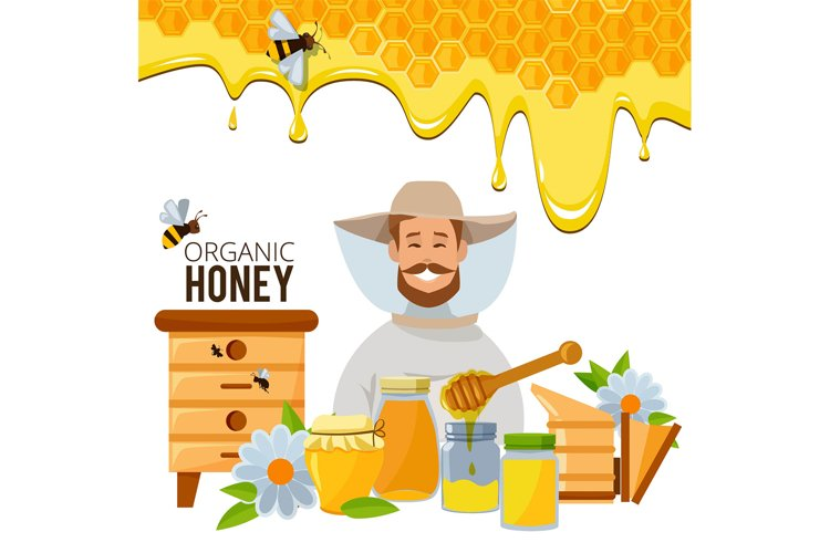 Vector poster template of apiary theme. Illustrations of bee example image 1
