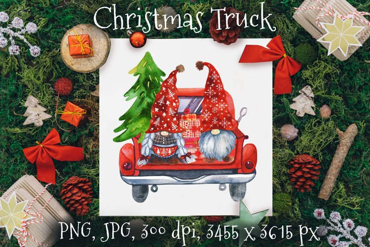 Christmas Gnomes. Gnome Truck. Red Truck Christmas