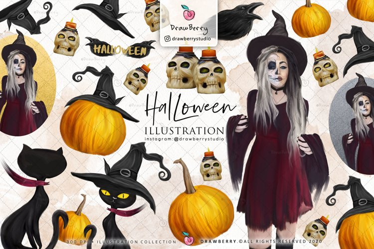 Halloween Graphics Witch Pumpkin Clipart | Drawberry CP049 example image 1