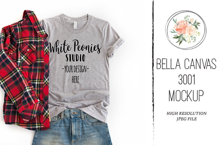 Bella Canvas 3001 Shirt Mockup Athletic Heather with Plaid example image 1