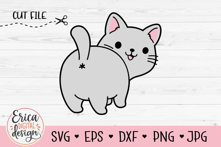 Cat Butt SVG cut file Funny cat Kitty Lovers Crazy Cat Lady example image 1