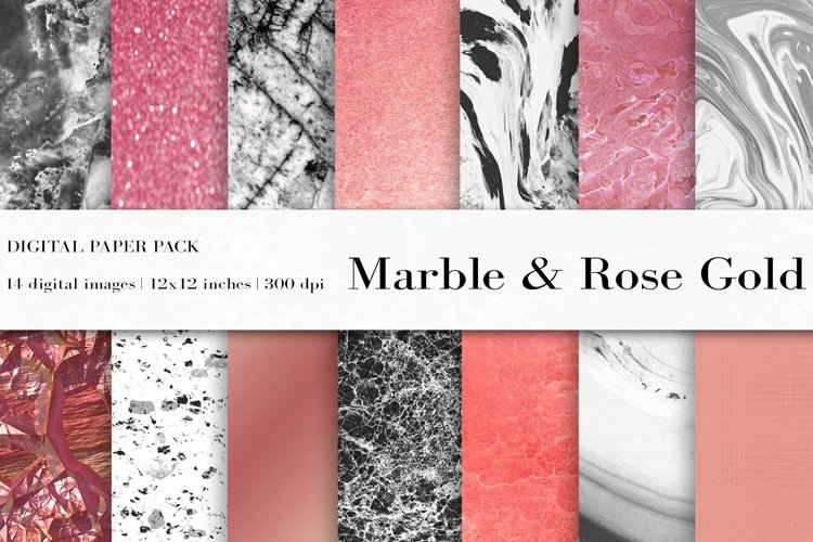 Marble Rose Gold Digital Paper, Marble background example image 1