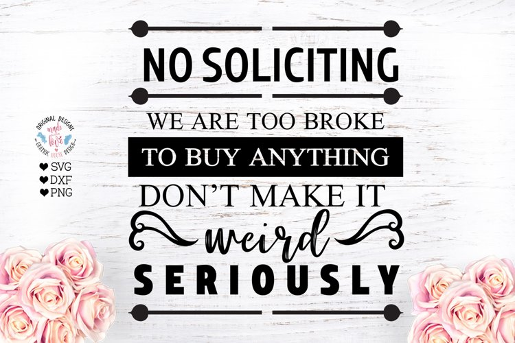 No Soliciting - Front Door Cut File and Sublimation File