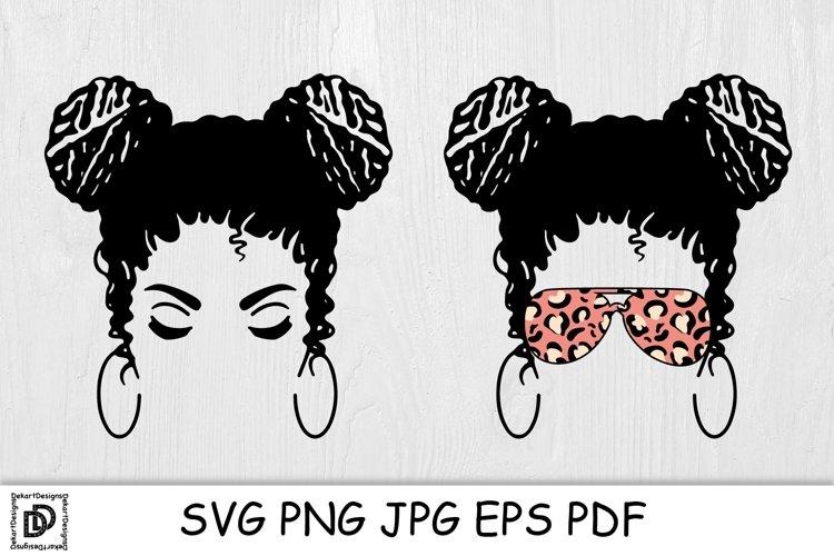 Messy Bun Mom SVG Mom Life Messy Bun Afro Women SVG Cut File