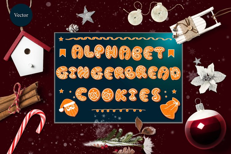 Vector set of 2 gingerbread alphabets. Christmas symbols. example image 1