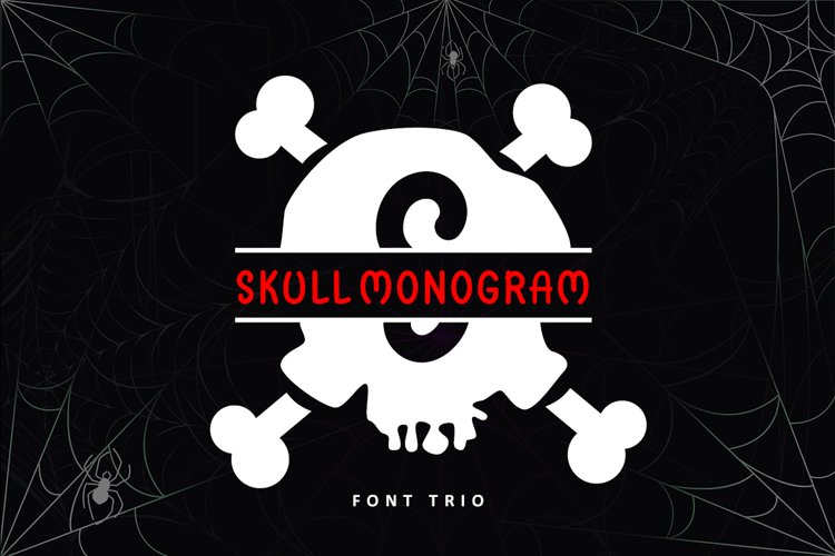 Skull Monogram - Font Trio For Halloween example image 1