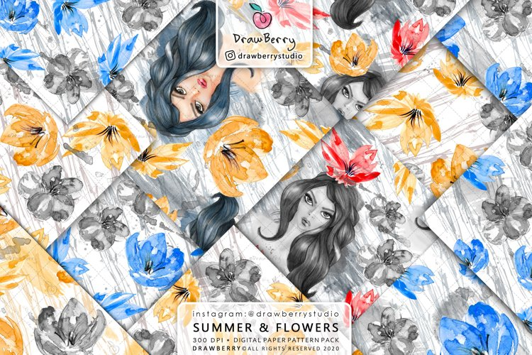 Watercolor Seamless Floral Pattern Pack example image 1
