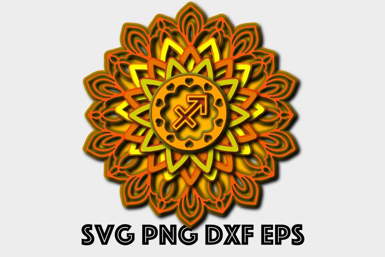 Download Sagittarius 3d Mandala Svg Zodiac Multi Layered Svg Cricut 937392 Paper Cutting Design Bundles