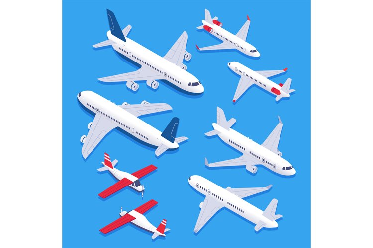 Isometric airplanes. Passenger jet airplane, private aircraf example image 1