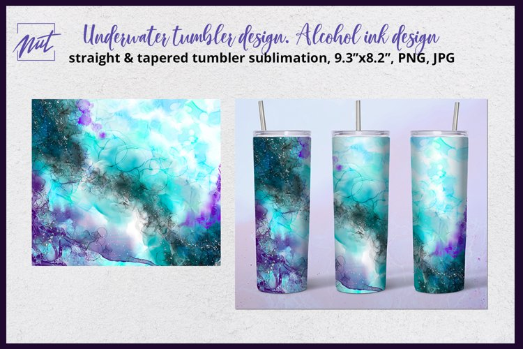 Tumbler design | Green & violet tumbler sublimation design