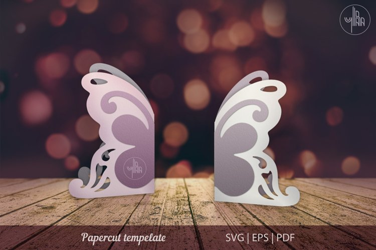 Butterfly papercut tempelate, SVG cutting file example image 1