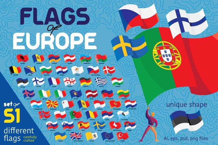 Flags of European countries. 51 flag set