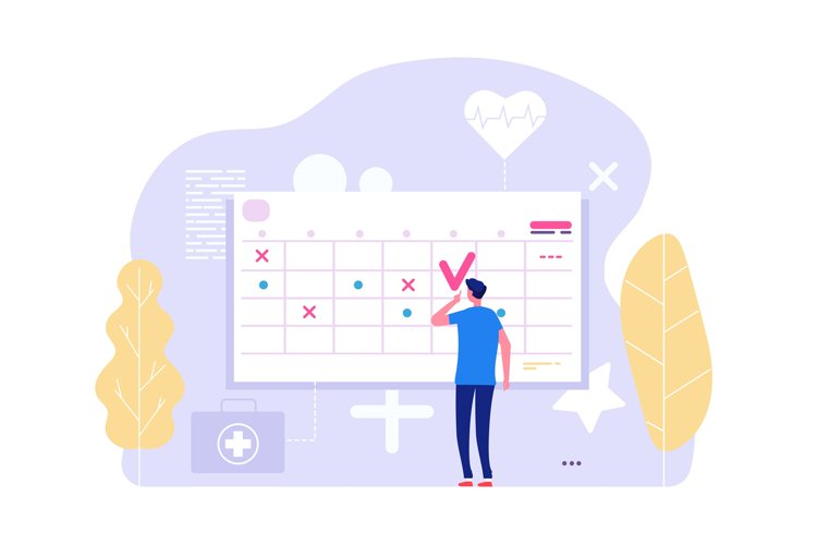 Online doctor appointment. Vector man and calendar, planning example image 1