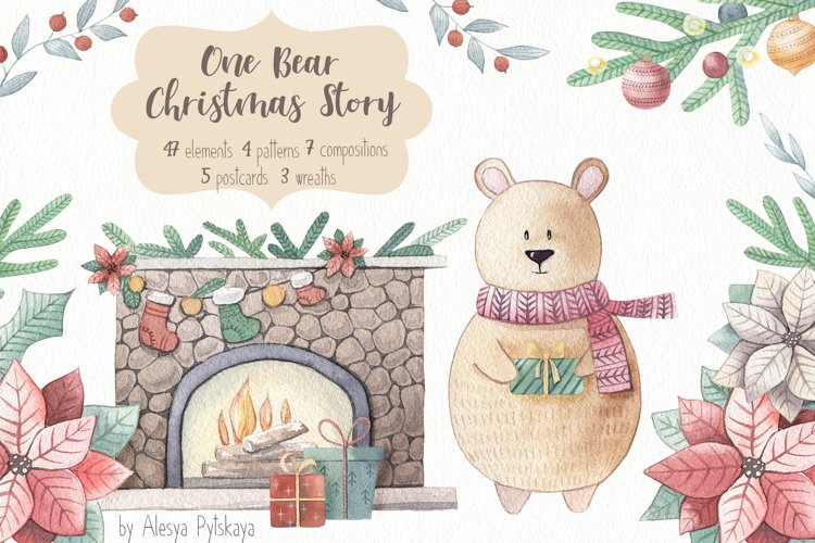One Bear Christmas Story-Watercolor set example image 1